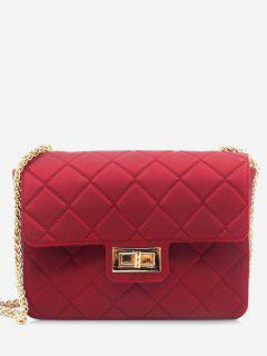 Twist Lock Quilted Chain Crossbody Bag - Red