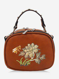 Studs Flower Bee Print Crossbody Bag - Gold Brown