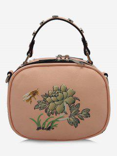 Studs Flower Bee Print Crossbody Bag - Pink