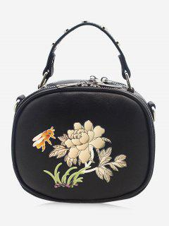 Studs Flower Bee Print Crossbody Bag - Black