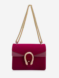 Flap Metal Chain Crossbody Bag - Wine Red