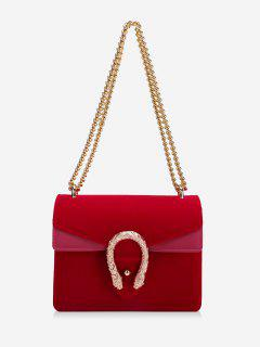 Flap Metal Chain Crossbody Bag - Bright Red