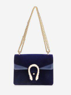 Flap Metal Chain Crossbody Bag - Blue