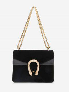 Flap Metal Chain Crossbody Bag - Black