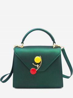 Contrasting Color Flap Handbag - Green