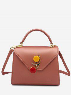 Contrasting Color Flap Handbag - Rose Gold