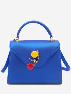 Contrasting Color Flap Handbag - Blue