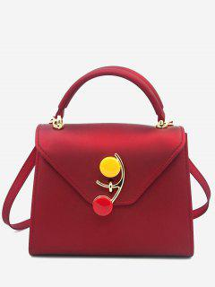 Contrasting Color Flap Handbag - Red
