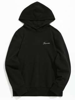 Kangaroo Pocket Graphic Embroidered Hoodie - Black Xl