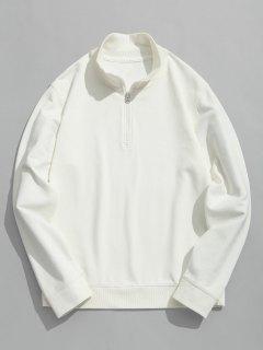 Half Zipper High Neck Sweatshirt - White 3xl