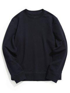 Crew Neck Plain Pullover Sweatshirt - Purplish Blue L