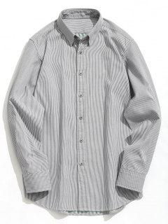 Button Down Striola Shirt - White And Black 3xl