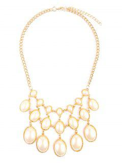 Faux Pearl Multilayer Sweater Necklace - Golden