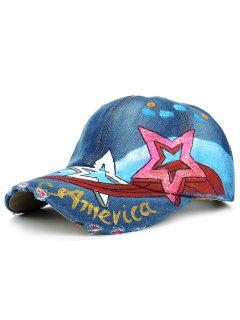 Star Pattern Embellished Hand Drawing Baseball Hat - #03