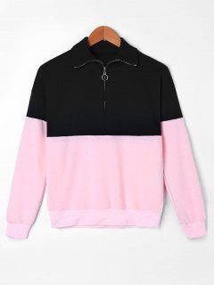 Zip Neck Two Tone Sweatshirt - M