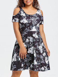 Vestido Estampado Floral Con Hombros Descubiertos Y Tallas Grandes - Xl