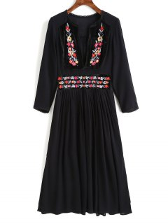 Eyelet Trim Floral Embroidered Midi Dress - Black M