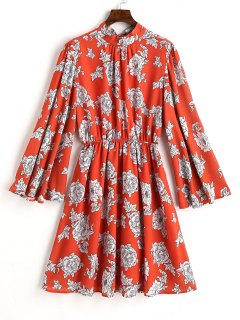 Drawstring Floral Open Back A Line Dress - Floral L