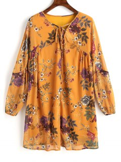 Floral Tunic Lace Up Mini Dress - Mustard L