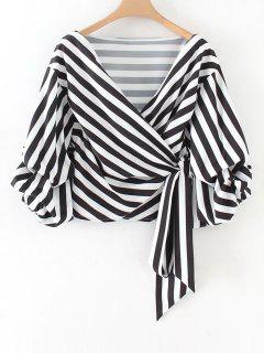 Gathered Sleeve Stripes Wrap Blouse - Stripe S