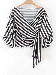Geraffte Ärmel Streifen Wrap Bluse - Streifen  L