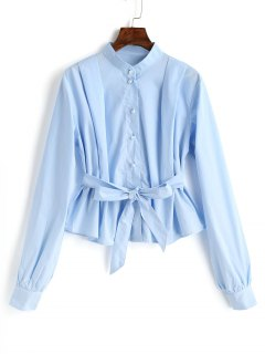 Belted Button Up Blouse - Light Blue M