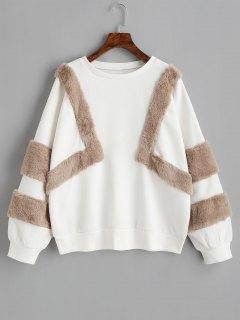 Oversized Textured Sweatshirt - White S