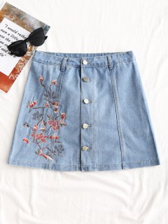 Button Up Floral Embroidered Denim Skirt - Denim Blue 2xl