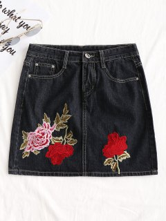 Floral Embroidered Jean A Line Skirt - Black L