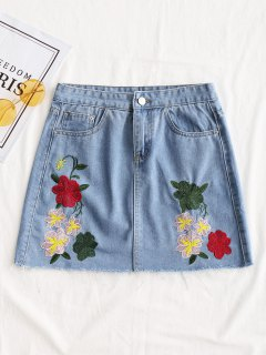 Frayed Hem Floral Embroidered Denim Skirt - Denim Blue L