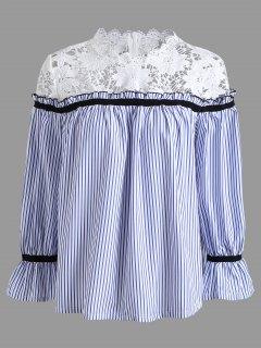Blouse à Pannean En Crochet Floral Grande Taille - Rayure 4xl