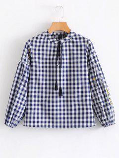 Tassels Plaid Embroidered Blouse - Purplish Blue M