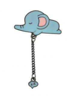 Tiny Cute Sleep Elephant Chain Brooch - Blue