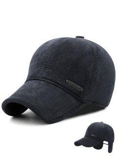 Winter Stripe Pattern Corduroy Earmuffs Baseball Hat - Dark Grey