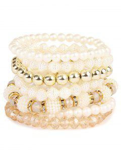 Rhinestone Faux Pearl Elastic Beaded Bracelet Set - Golden