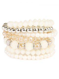 Rhinestone Faux Pearl Elastic Beaded Bracelet Set - Silver