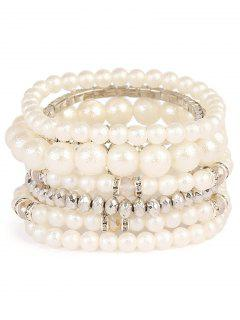 Rhinestoned Faux Pearl Beaded Bracelet Set - Silver