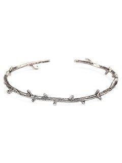 Bracelet Manchette En Alliage D'arbre Vintage - Argent