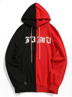 Studded Graphic Color Block Hoodie - Red With Black 2xl