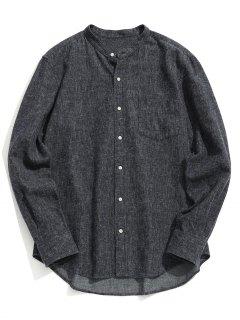 Chemise à Col Mandarin à Poche - Gris Foncé 2xl