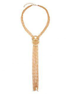Round Fringed Chain Necklace - Golden