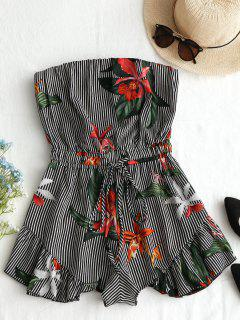 Striped Floral Ruffles Strapless Romper - Black S