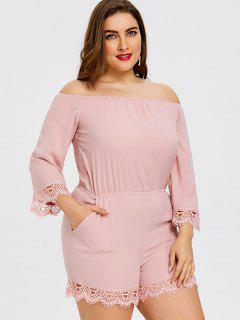 Laced Off The Shoulder Plus Size Romper - Pink 4xl