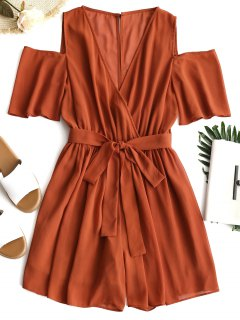 Low Cut Cold Shoulder Surplice Romper - Brick-red L