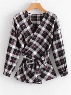 Faux Pearls Tartan Wrap Blouse - Checked S