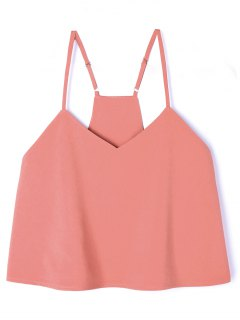 Adjustable Strap Poplin Cropped Tank Top - Orangepink M