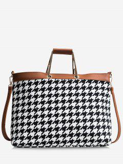 Checked Color Blocking Tote Bag - Black White