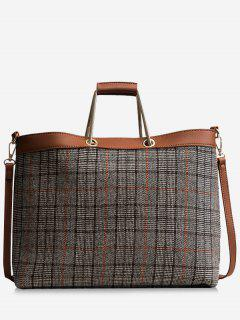 Checked Color Blocking Tote Bag - Gray
