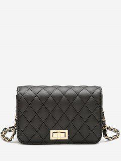 Quilted Chain Crossbody Bag - Black