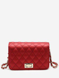 Quilted Chain Crossbody Bag - Red